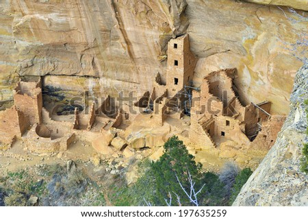 Reconstruction of the Square Tower in Mesa Verde National Park, Colorado in winter - stock photo