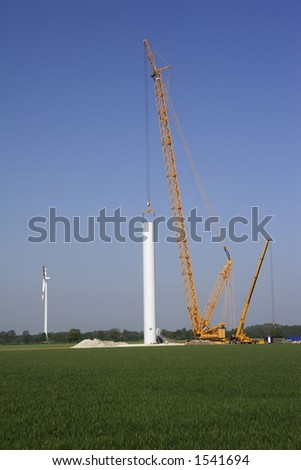 reconstruction work of a new wind energy farm in germany - stock photo