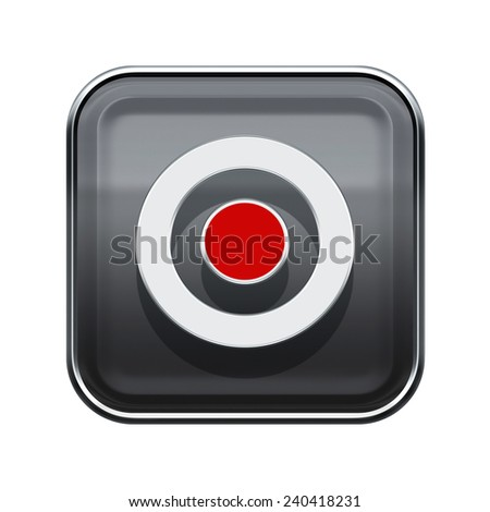 Record icon glossy grey, isolated on white background - stock photo