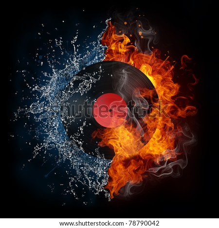 Record in fire and water. Illustration of the record enveloped in elements isolated on black background. High resolution record in fire and water image for a DJ party poster. - stock photo