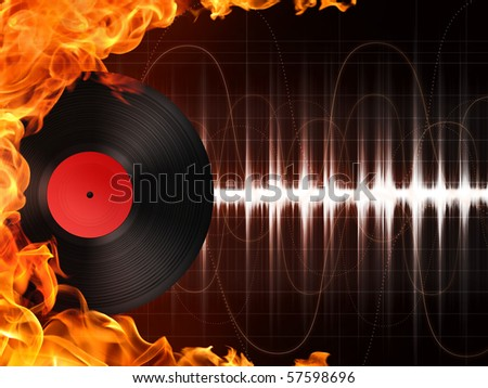 Record in Fire. Computer Graphics. Design Element. - stock photo