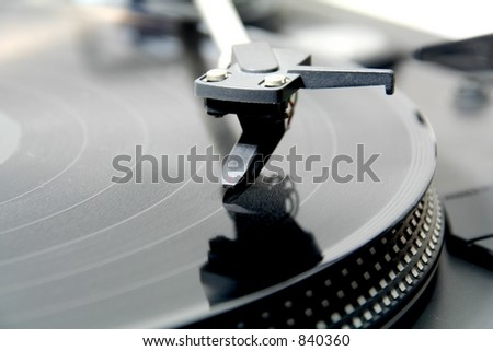 record on turntable 5/8 - stock photo
