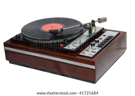 record player isolated on white background - stock photo