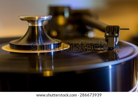 Record player vintage - stock photo