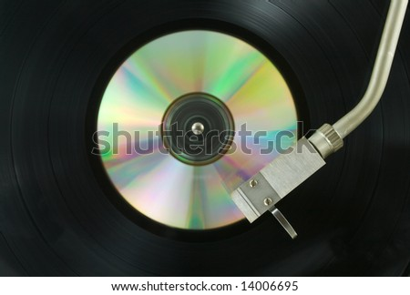 record player with cd - stock photo