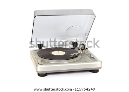 record player with vinyl record - stock photo