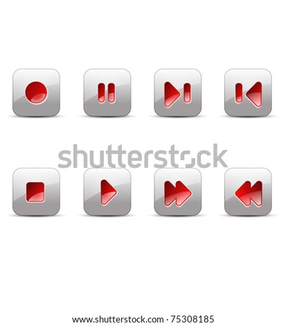 record, stop, pause, play, next, skip, back, previous, forward media buttons illustration - stock photo