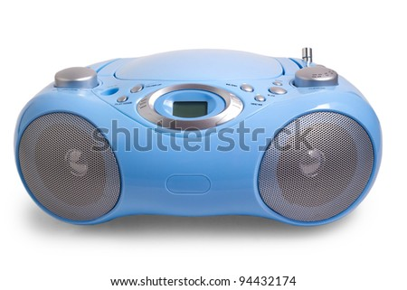 recorder portable player blue stereo CD mp3 radio isolated on white - stock photo