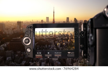 Recording at camcorder - stock photo