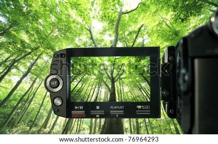 Recording at camcorder - stock photo