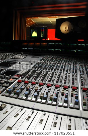 recording desk sound studio - stock photo