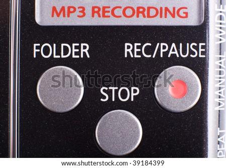 Recording device crop - portable recorder buttons macro shot - stock photo