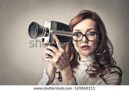 Recording Girl - stock photo