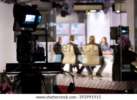 Recording live talk show at television studio - stock photo