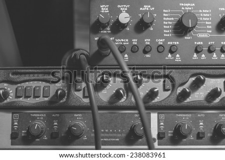 recording studio gears close up , black and white processed - stock photo