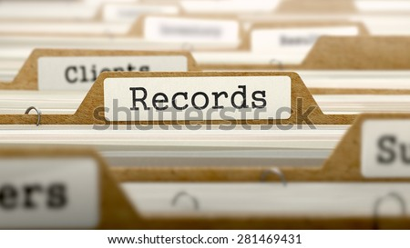 Records Concept. Word on Folder Register of Card Index. Selective Focus. - stock photo