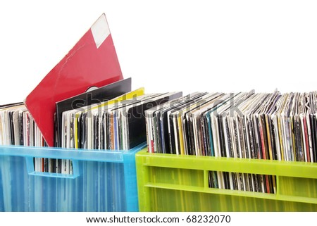 Records in two plastic boxes, closeup - stock photo