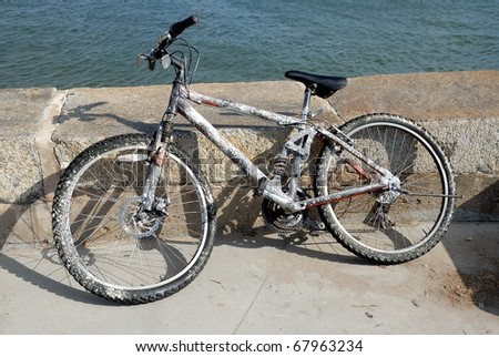 Recovered bicycle from the Matanzas River at historic St. Augustine Florida usa - stock photo