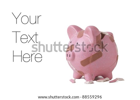 Recovering finances, Piggy bank with bandages isolated on white, copy space - stock photo