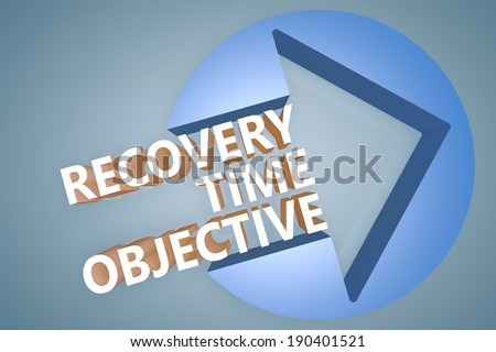 Recovery Time Objective - text 3d render illustration concept with a arrow in a circle on blue-grey background