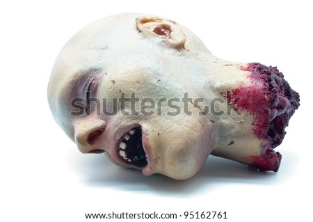 Recreation a severed human head on a white background - stock photo