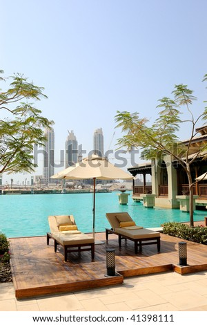 Recreation area at hotel in Dubai downtown, United Arab Emirates