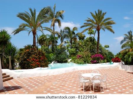 Recreation area of luxury hotel, Tenerife island, Spain - stock photo