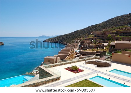 Recreation area of the luxury hotel, Crete, Greece