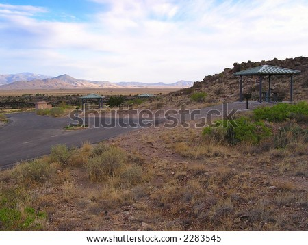 recreation area  of Valley of Fires or Malpais area adjacent to Malpais Lava Flow, New Mexico, USA. The valley was covered by lava on two occasions