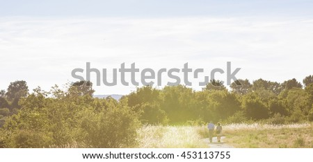 Recreation Area Wienerberg Park with meadows, groves, farmland, ponds, dog areas, playgrounds and even a golf club located in the 10th district of Vienna. It was a former Imperial brick manufactory. - stock photo