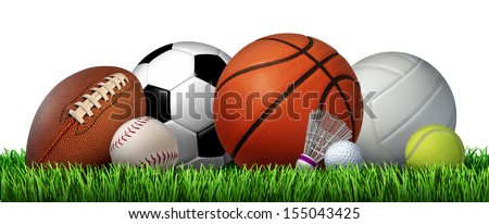Recreation leisure sports equipment on grass with a football basketball baseball golf soccer tennis ball volleyball and badminton birdie as a symbol of healthy physical activity isolated on white. - stock photo