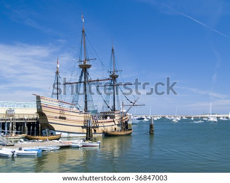 Recreation of the original Mayflower ship docked at Plymouth Harbor, Plymouth, Massachusetts
