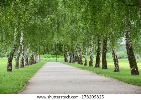 Recreation park path - stock photo
