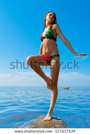 Recreation Sunbathing Woman  - stock photo