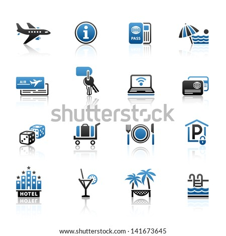 Recreation, Travel & Vacation, icons set. Sport, Tourism with reflection. Vector version (eps) also available in gallery - stock photo