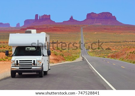Recreational vehicle on the highway, Monument Valley, USA