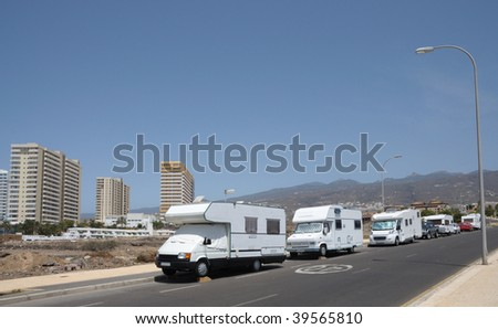 Recreational vehicles parking on the street. Canary Island Tenerife, Spain - stock photo