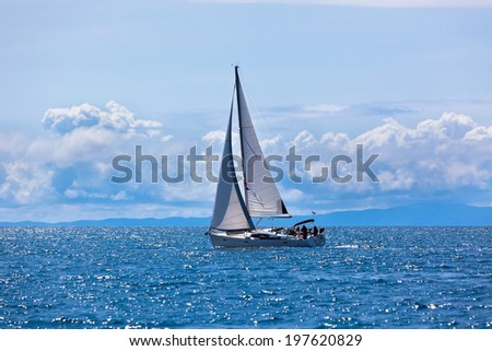 Recreational Yacht at Adriatic Sea. Horizontal day shot - stock photo