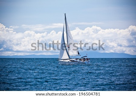 Recreational Yacht at Adriatic Sea. Horizontal sunny shot - stock photo