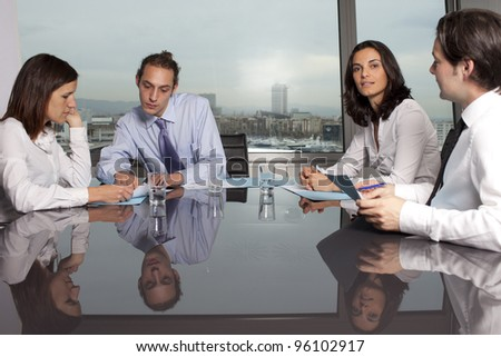 Recruiter checking the CV during job interview - stock photo