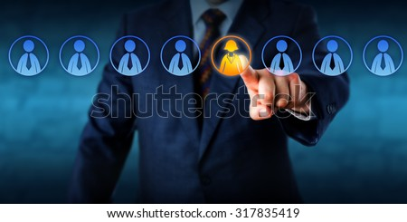 Recruiter is selecting the only female candidate in a virtual lineup of eight applicants. The remaining seven male worker icons do remain inactive. Business metaphor for a tough management decision. - stock photo