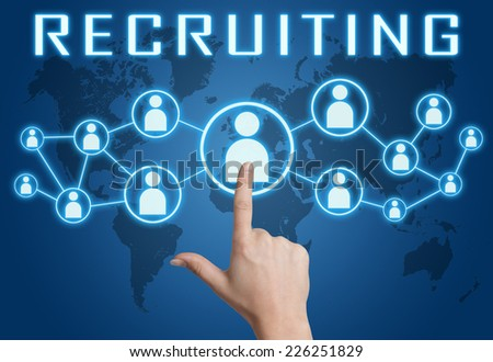 Recruiting concept with hand pressing social icons on blue world map background. - stock photo
