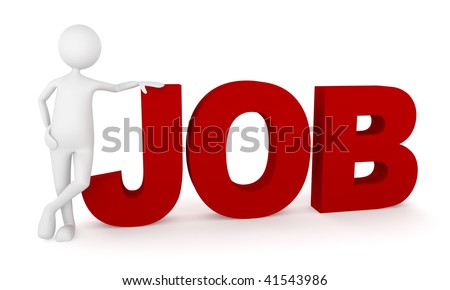 Recruiting.  Recruiting concept depicting happy 3D man representing employee. - stock photo