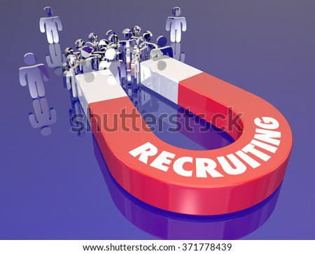 Recruiting word on red metal magnet pulling employee job candidates in for an interview or career work opportunity - stock photo
