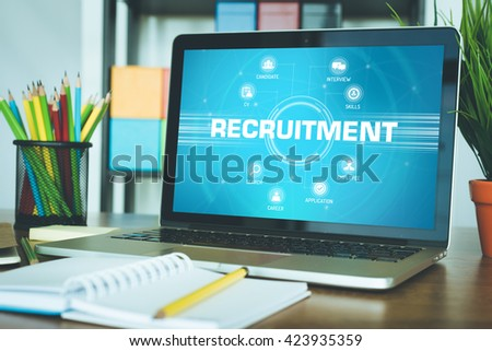 RECRUITMENT chart with keywords and icons on screen - stock photo