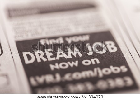 Recruitment, Classified Ad, Occupation. - stock photo