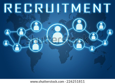 Recruitment concept on blue background with world map and social icons. - stock photo