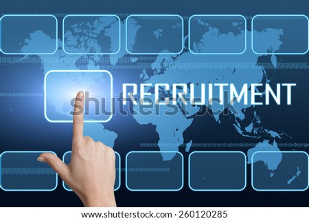 Recruitment concept with interface and world map on blue background - stock photo