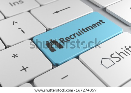 Recruitment directly using a blue button with binoculars icon in a elegant keyboard - stock photo