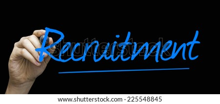 Recruitment hand writing with a blue mark on a transparent board - stock photo
